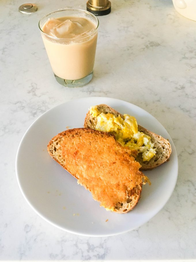 fried cheese toast + eggs | immaEATthat.com